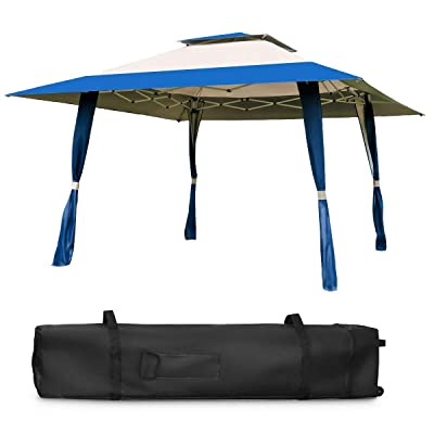 13x13 feet 2 Tier Fabric Steel Frame Gazebo Shelter Canopy Tent Beige Blue Durable Sturdy Heavy Duty Contemporary Weather Resistant Foldable for Home Outdoor Wedding Party Event Garden Backyard Picnic : Garden & Outdoor