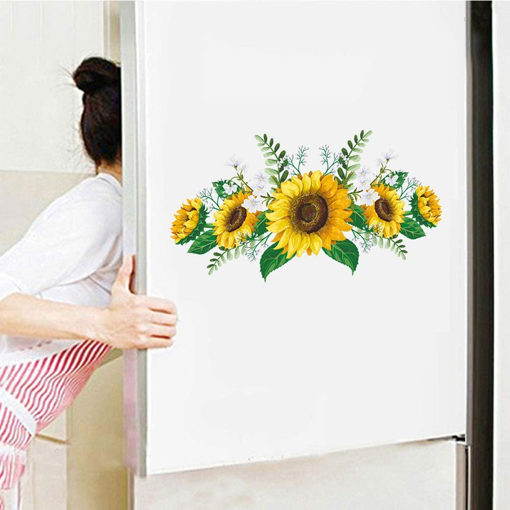 Sunflower Wall Decal Nature Plant Wall Art Sticker Decor for Kids Bedroom Nursery Removable Home Background Decoration