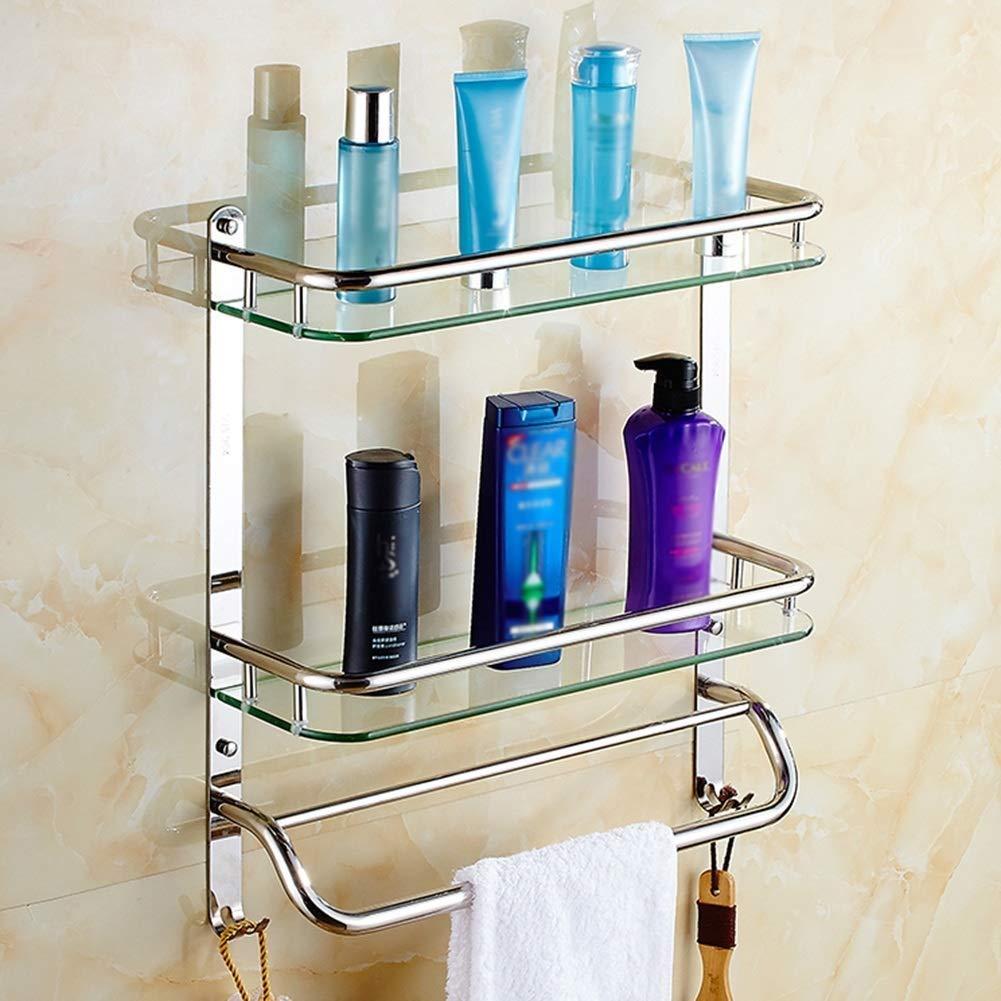 Color : Silver Bathroom Shelf On The Toilet Compact Shelf Rectangular Storage Shelf Hotel with Towel Rail Creative Bathroom Shelf