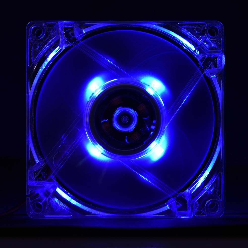 Blue 80MM 12V 4Pin Mute Fan Deliver Up to 46 CFM of Air Flow with Cool Led Light for Computer Case Cooling Pokerty Led Cooling Fan