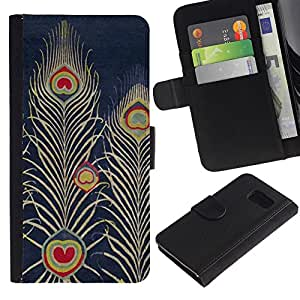 Planetar® Modelo colorido cuero carpeta tirón caso cubierta piel Holster Funda protección Para Samsung Galaxy S6 / SM-G920 ( Navy Bluer Feather Art Drawing )