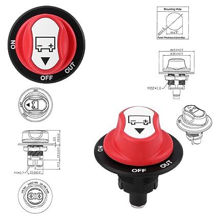 max Wohnmobile Batterie-Trennschalter Keenso Batterie-Trennschalter ATV Fahrzeuge Ein-//Ausschalter wasserdicht DC 50 V f/ür Boote