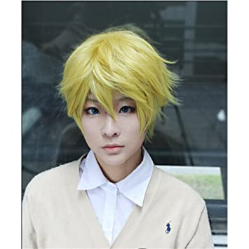 LanTing Cosplay Peluca Noragami Yukine short blonde gold Cosplay Party Fashion Anime Human Costume Full wigs Synthetic Cabello Heat Resistant Fiber: ...