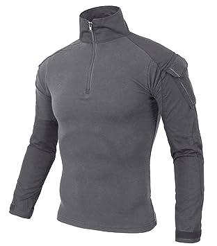 KEFITEVD Camisa Camuflaje Hombre Slim Fit Camisas Manga Larga Camiseta Militar Táctico Combate Camisetas: Amazon.es: Deportes y aire libre