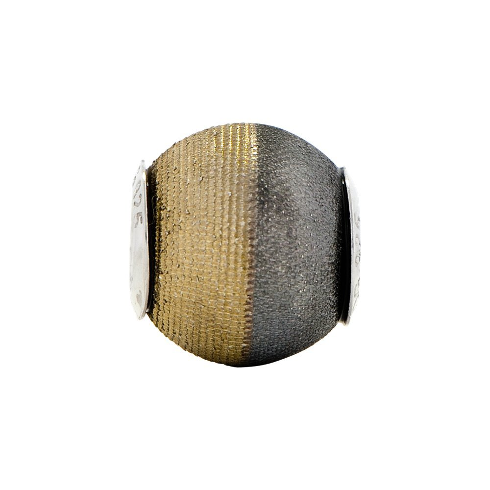 Jewel Tie Sterling Silver Reflections Gold-Toned Laser Etched and Black Matte Bead 10mm x 11.8mm