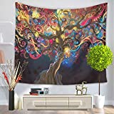 """YJ Bear Abstract Pattern Tree Print Non-woven Weaving Yoga Mat Blanket Wall Hanging Tapestry Rectangle Indian Mandala Boho Beach Towel Throw Table Cloth Cover 59"""" X 51"""""""