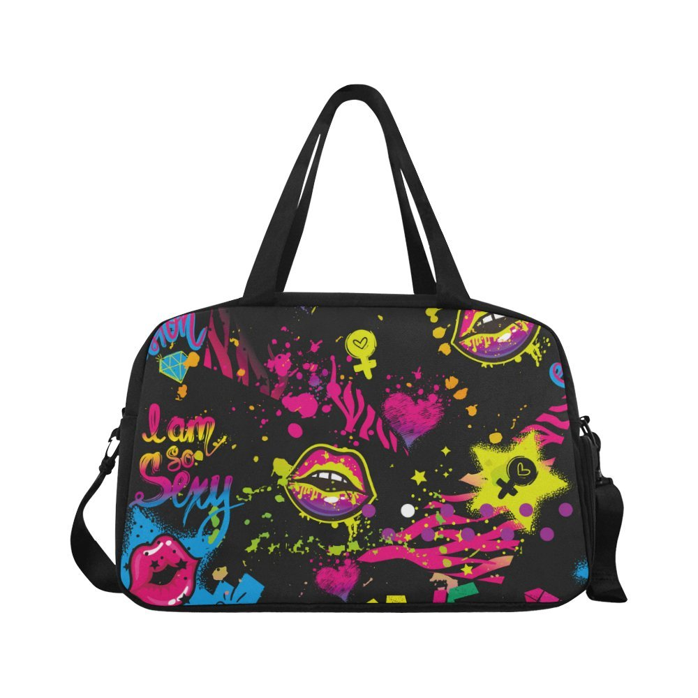 InterestPrint Watercolor Lip Duffel Bag Travel Tote Bag Handbag Luggage