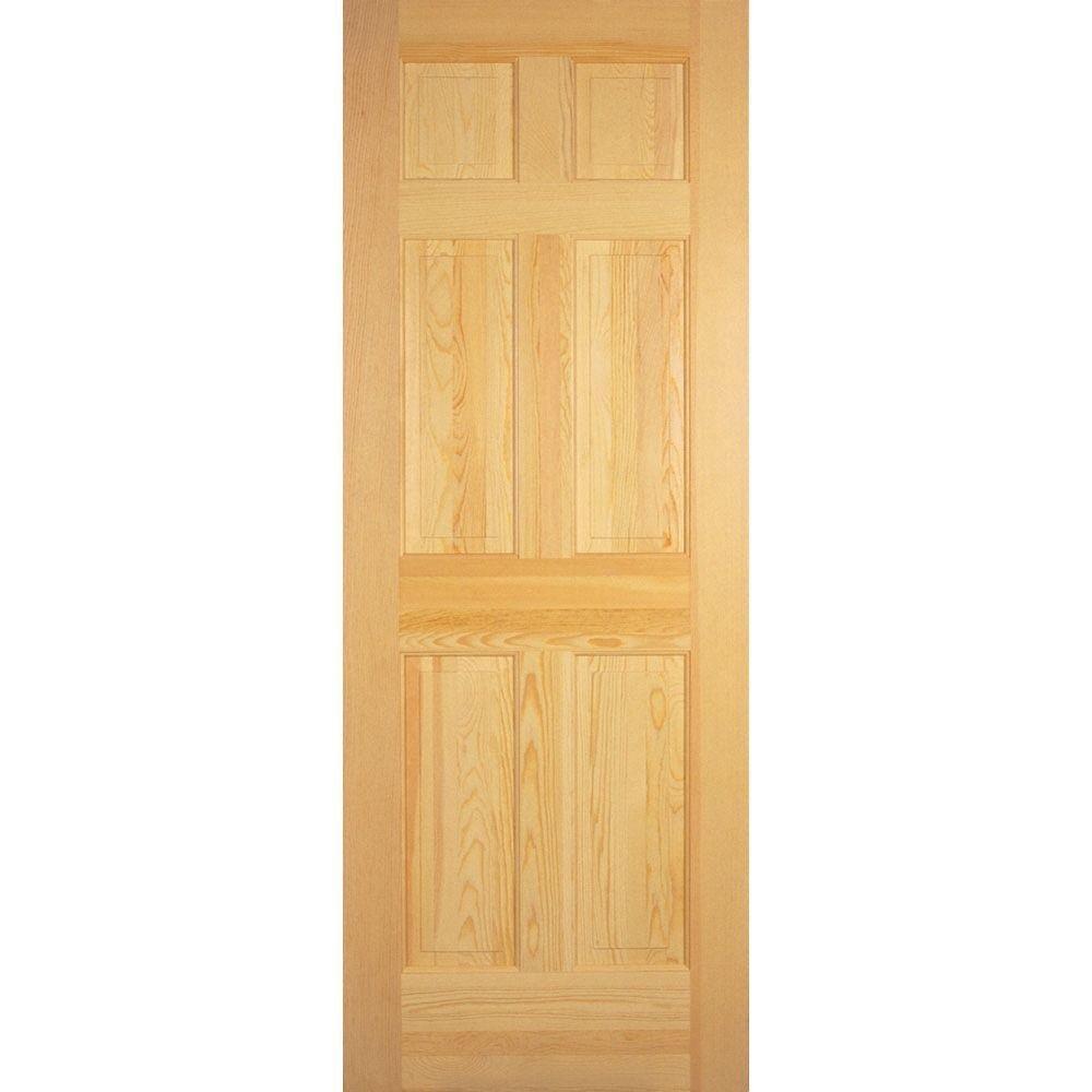 6 Panel Clear Pine Solid Core Prehung Interior Door Amazon