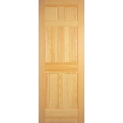 6 Panel Clear Pine Solid Core Prehung Interior Door