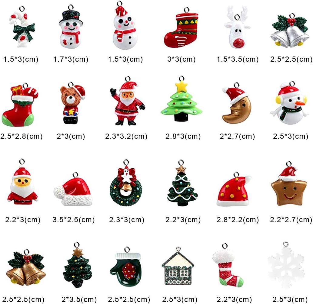 Bluelves Christmas Charms 24pcs Christmas Tree Pendant Christmas Miniatures for DIY Decoration Small Christmas Decorations Resin Christmas Pendant Tree Santa Snowman Reindeer Bear