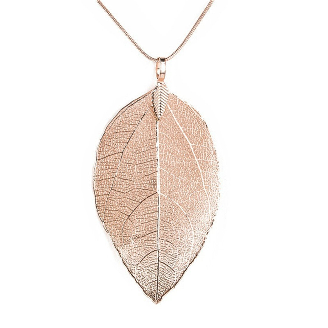 Edtoy Leaves Long Necklace Leaf Sweater Chain Pendant Fashion Accessories (Rose Gold)