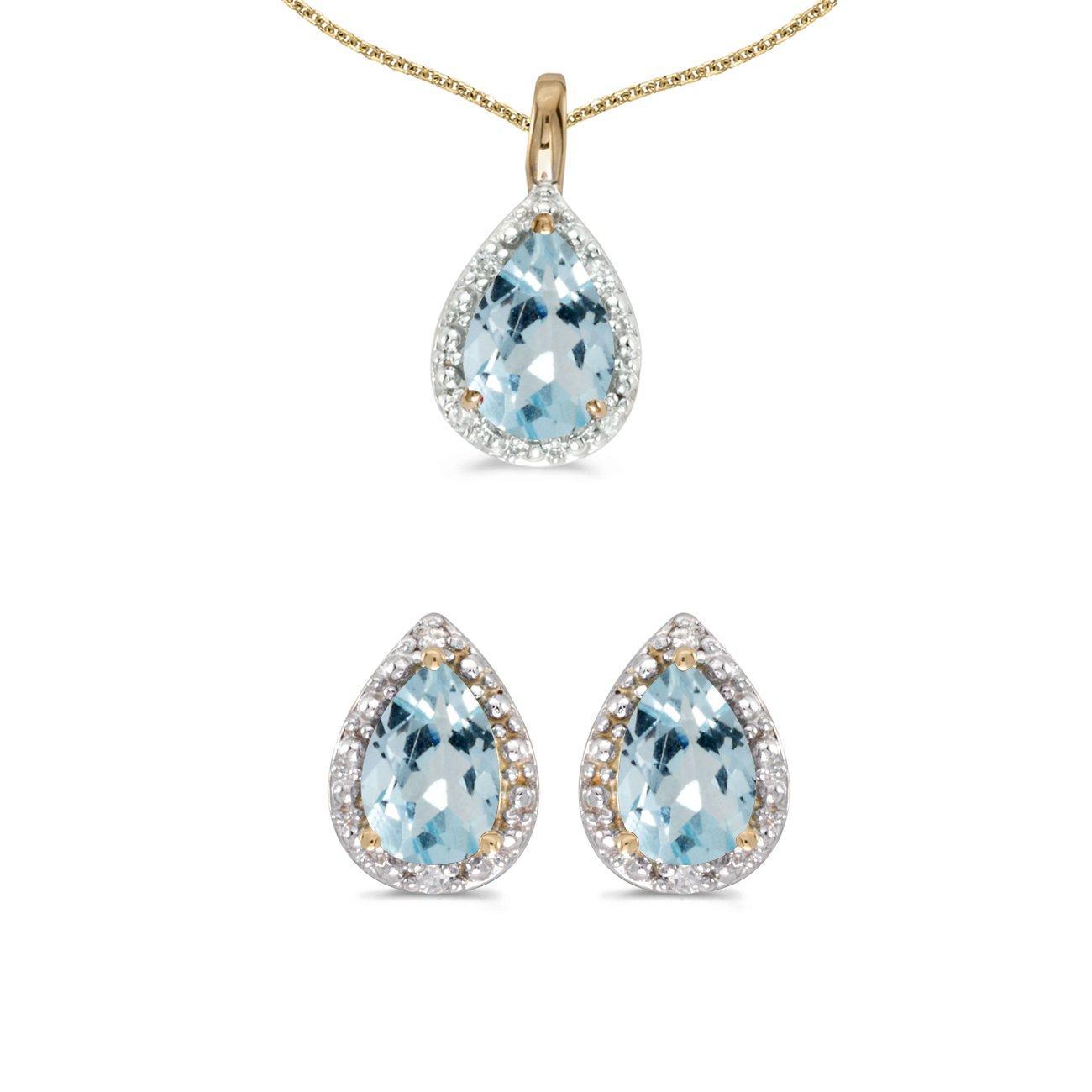 10k Yellow Gold Pear Aquamarine And Diamond Earrings and Pendant Set