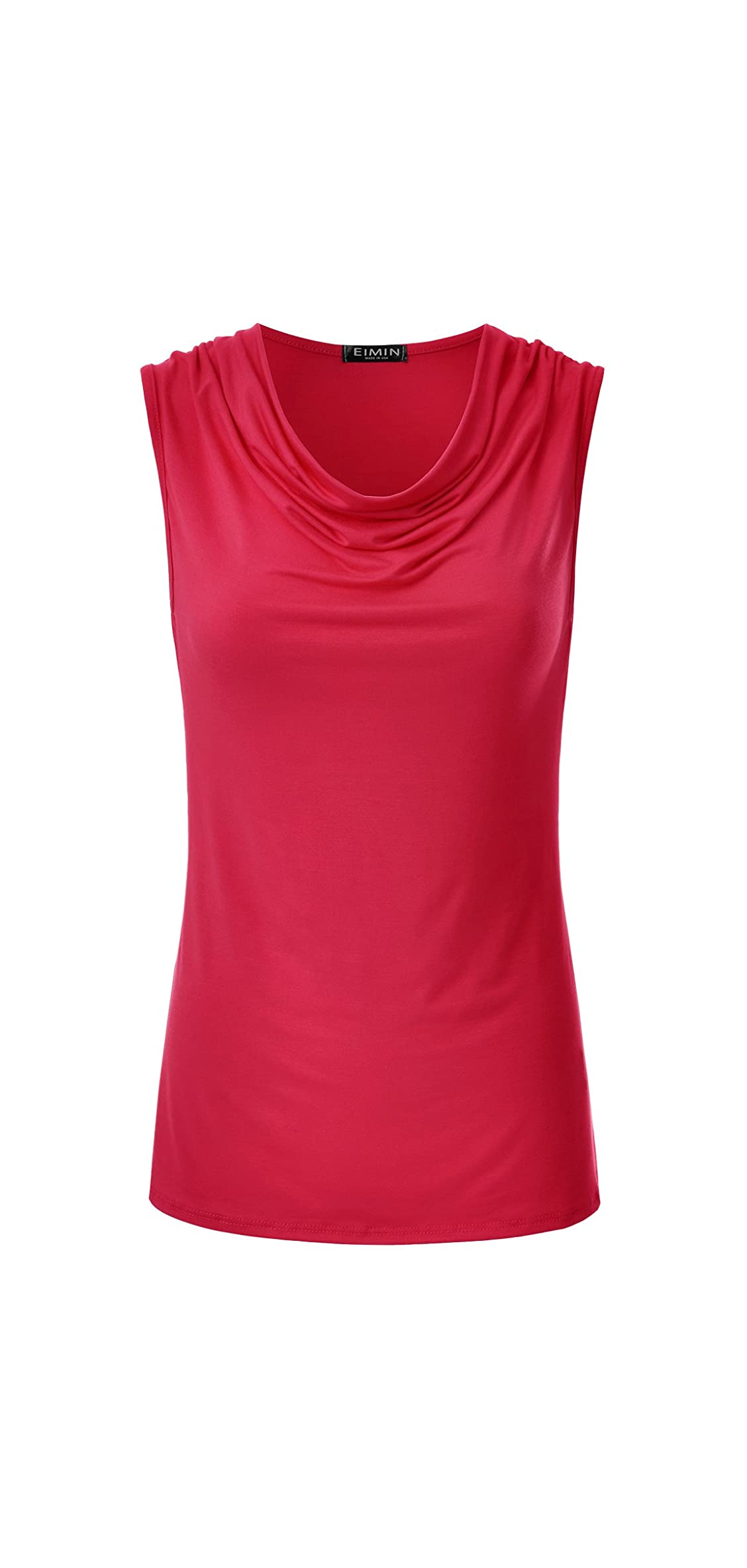 Women's Cowl Neck Ruched Draped Sleeveless Stretchy Blouse