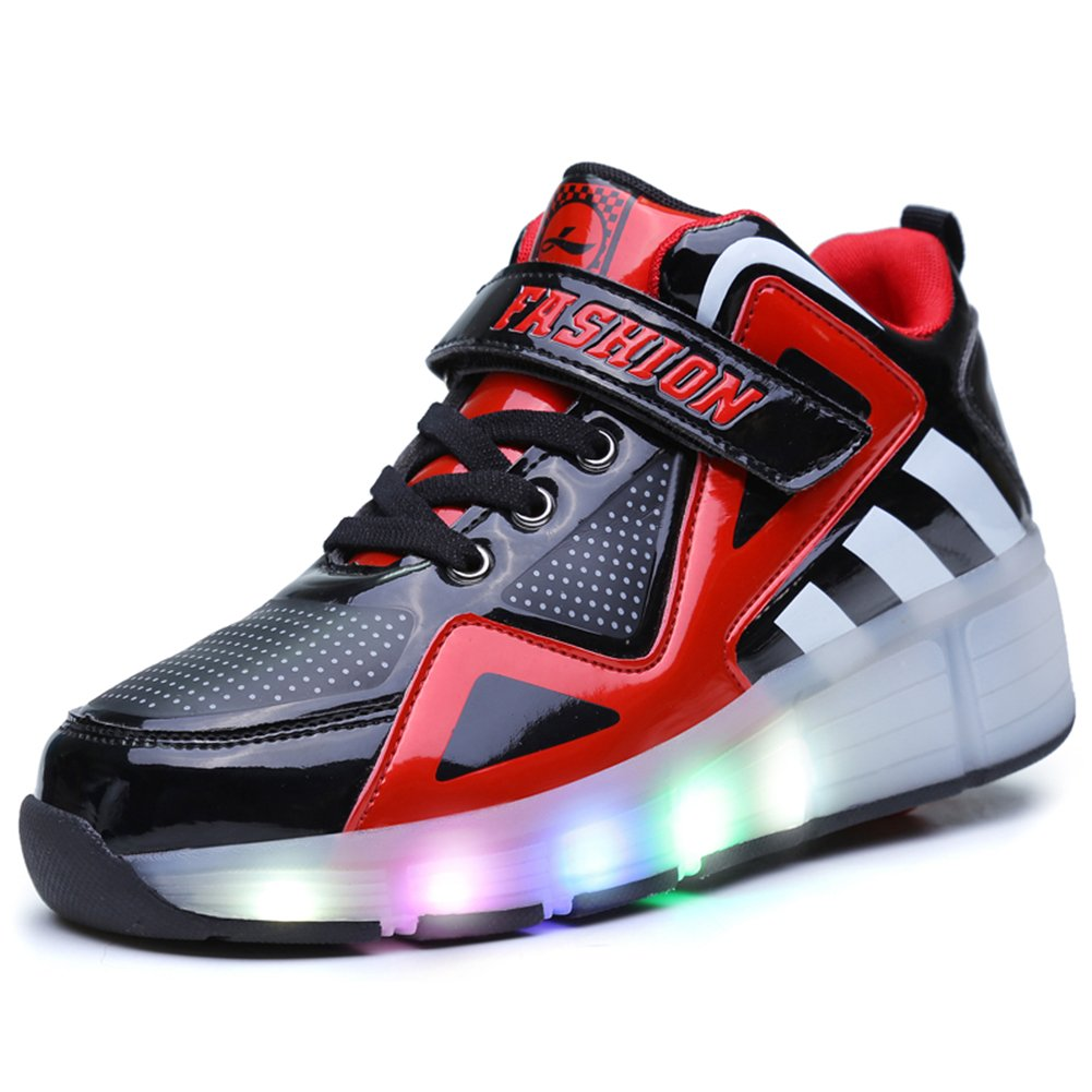 Amazon.com | Uforme Kids Boys Girls High-Top Shoes LED Light Up Sneakers Single Wheel Double Wheel Roller Skate Shoes | Sneakers