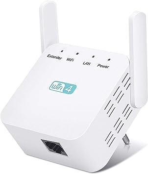 Repetidor WiFi Amplificador Señal Wifi 300Mbps/2.4GHz, Wifi Repetidor Amplificador de Wifi Extensor de Red con 2 Antenas Externas, Conecta 10 ...