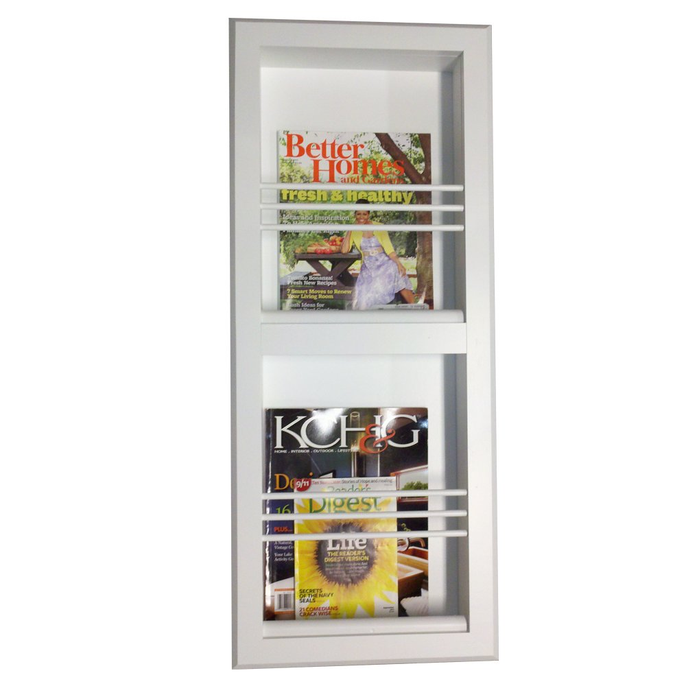 Wood Cabinets Direct Justin double Bevel Frame Recessed Magazine Rack