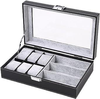 DoubleBlack Caja para 6 Relojes Y 3 Gafas Estuche Relojes Hombre Negro: Amazon.es: Relojes