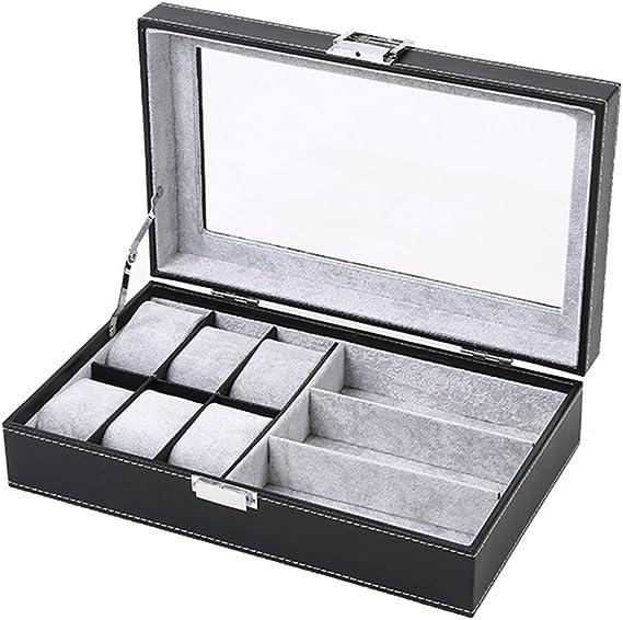 DoubleBlack Caja para 6 Relojes Y 3 Gafas Estuche Relojes Hombre ...