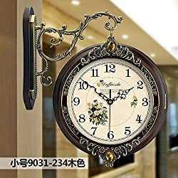 Imoerjia Solid Wood European Double-Sided Wall Clock Living Room Large Two-Sided Clocks Creative Clock Retro Mute Quartz Clock, 20 Inch, Double Sided Clock 9031-234 Small Wood