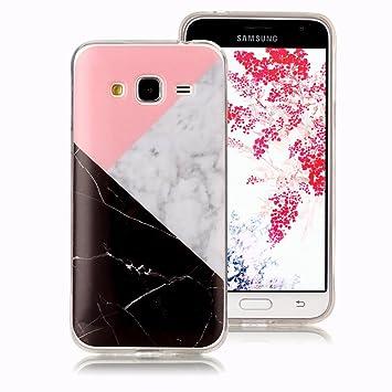 Funda Mármol para Samsung Galaxy J3, Samsung Galaxy J3 2016 Case Ronger Carcasa Gel TPU Silicona Marble Case Cover Ultra Flexible con Patrón de ...