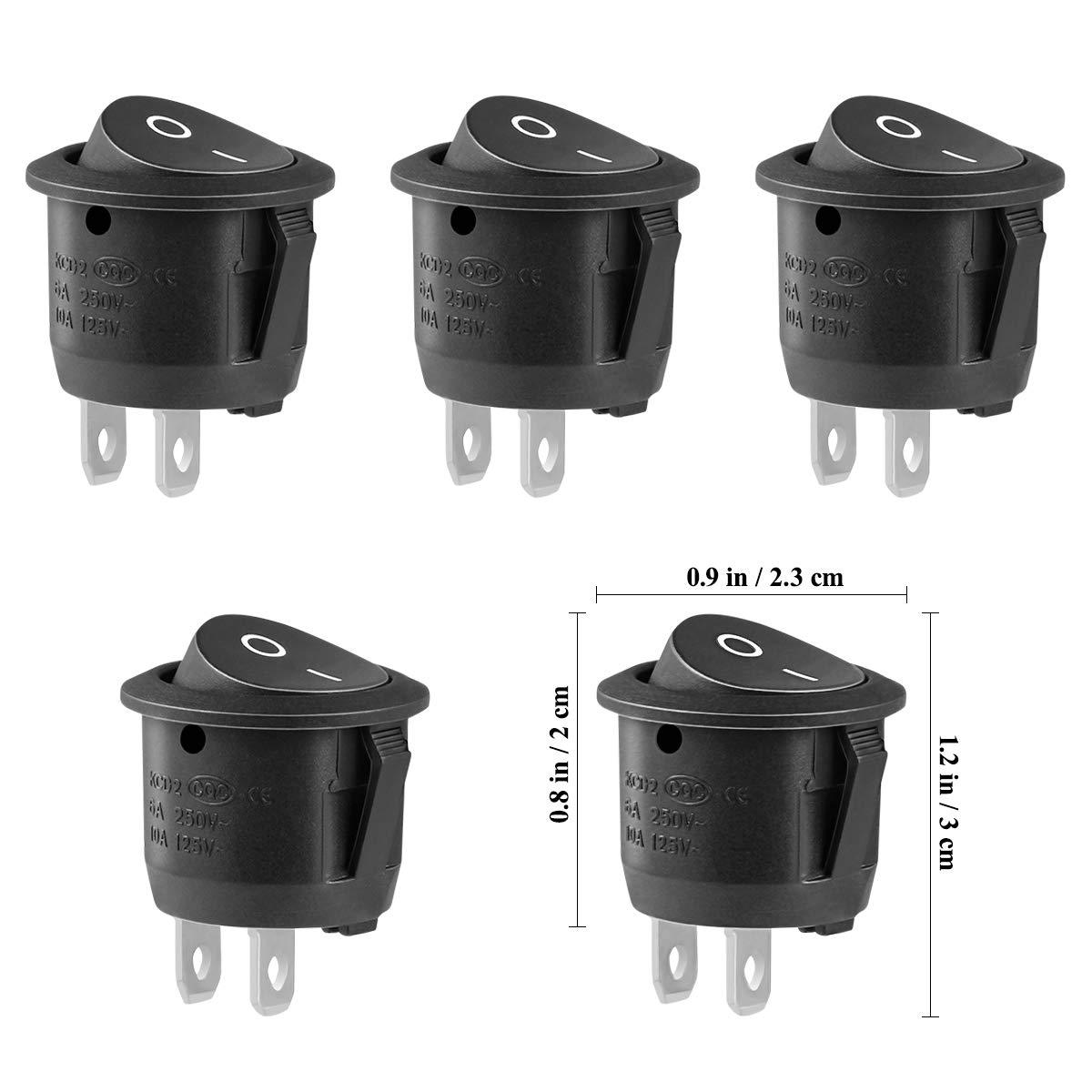 Paquete de 5/interruptores Winomo para coche para botes y camiones Sedan 10/A y 125/V o 6/A y 250/V con 2/pines redondos y a presi/ón