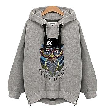 Angela Dress Womens Fashion Hooded Hoodie Owl Jacket Coat (L, Grey)