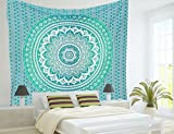 Turquoise Green Ombre Tapestry Hippie Wall Hanging teal mint Bohemian Bedspread Bedding Dorm Decor by Jaipur Handloom