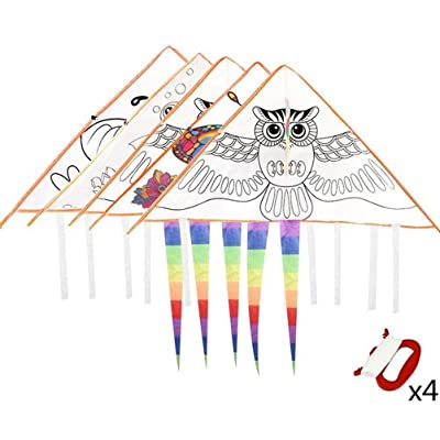 Warmshine 4 Pack DIY Cartoon Painting Kite Graffiti Coloring Hand-Painted Painting Kite Blank Kite Foldable Outdoor Kite Children Kids Toys,Each with 30M Kite Line: Home & Kitchen