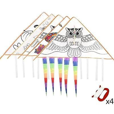 Warmshine 4 Pack DIY Cartoon Painting Kite Graffiti Coloring Hand-Painted Painting Kite Blank Kite Foldable Outdoor Kite Children Kids Toys,Each with 30M Kite Line: Home & Kitchen [5Bkhe0502503]
