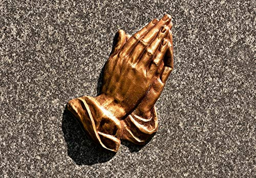 Praying Hands Brass - Home Comforts Framed Art for Your Wall Plate Stone Praying Hands Ornament Religious Brass Vivid Imagery 10 x 13 Frame