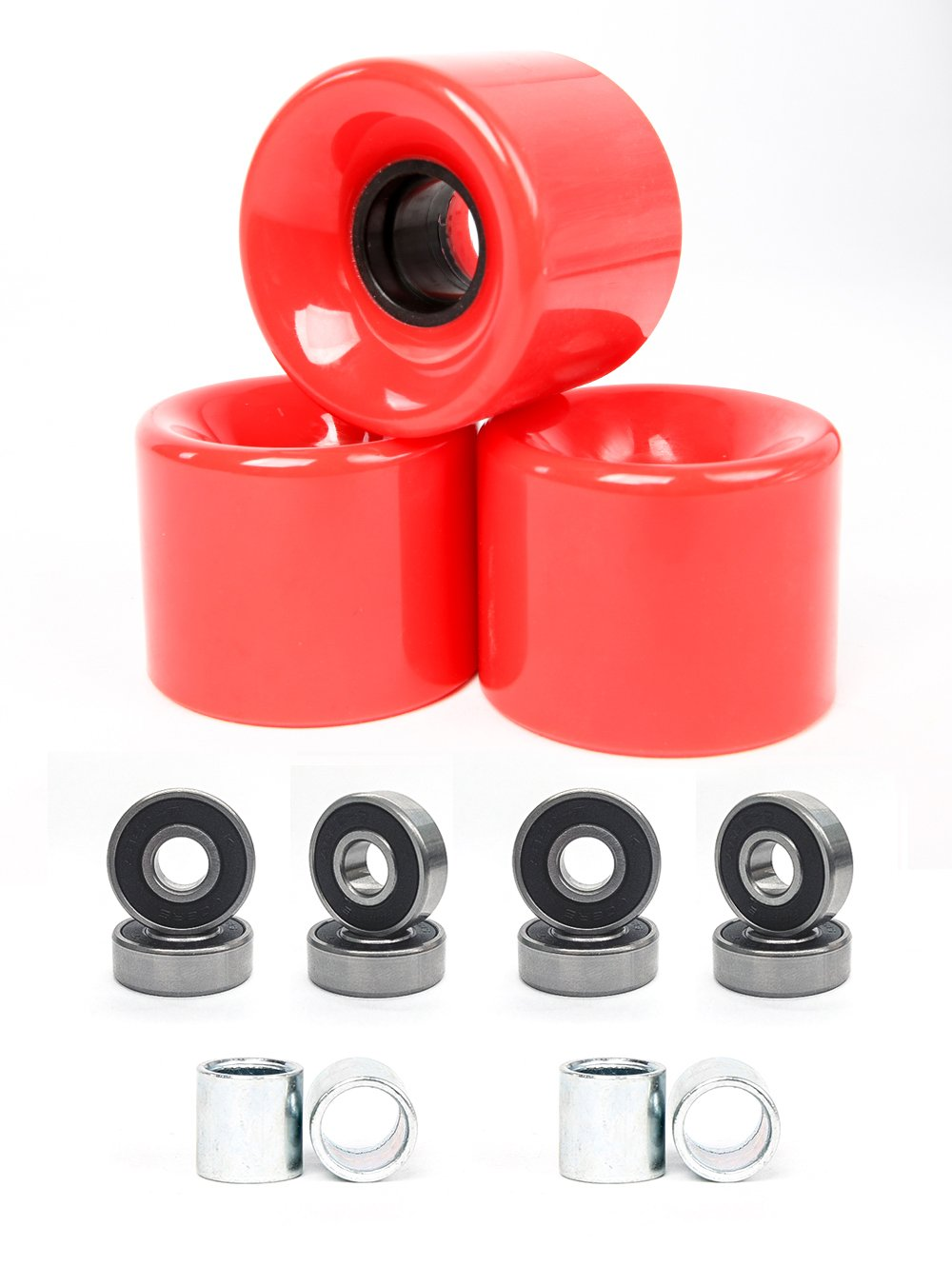 FREEDARE 58mm Skateboard Wheels 82a + ABEC-7 Bearing Steel and Spacers Cruiser Wheels (Red, Pack of 4) by FREEDARE