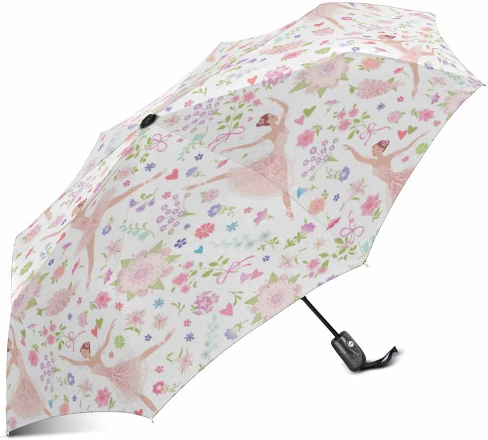 Beautiful Pink Ballet Dancer Watercolor Painting Custom Unique Durable Custom Foldable Umbrella