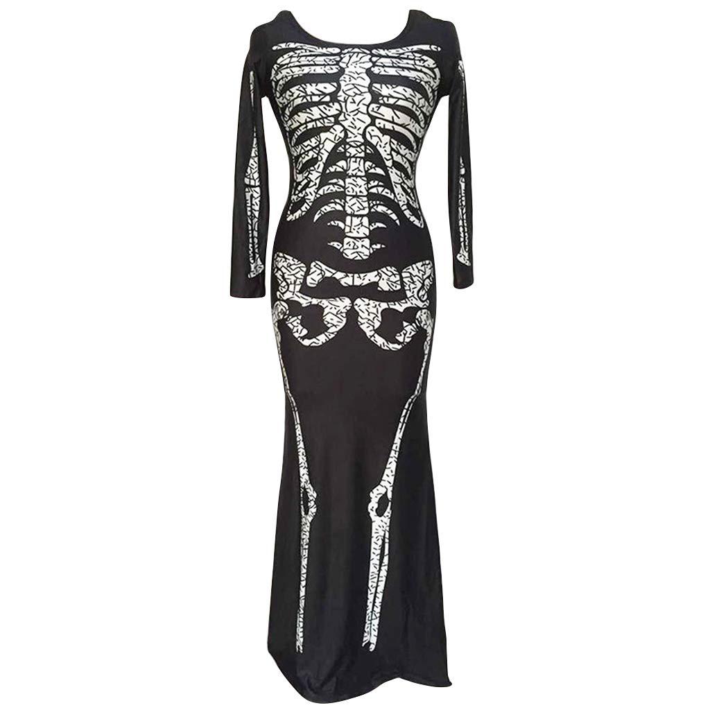 Liny Women Skeleton Dress Halloween Tunic Skull Bone Costume Fancy Dress Outfit LinyTradingCo. Ltd
