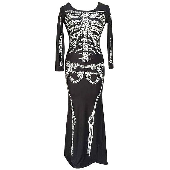 Mujers Esqueleto de Halloween Huesos Vestido Túnica Disfraz Impresos Fancy Largo Manga Traje de Cosplay Actuación Ropa