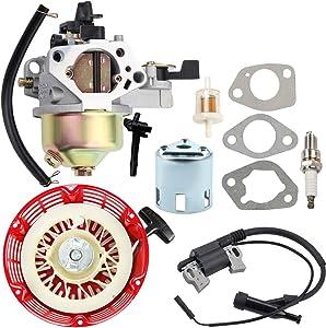 Kuupo GX390 Carburetor + Recoil Starter + Ignition Coil Tune Up Kit for Honda GX 390 13HP 16100-ZF6-V00 Carb WT40XK1 WT40XK2 WT40XK3 Water Pump Toro 22308 22330 Dingo Lawnmower
