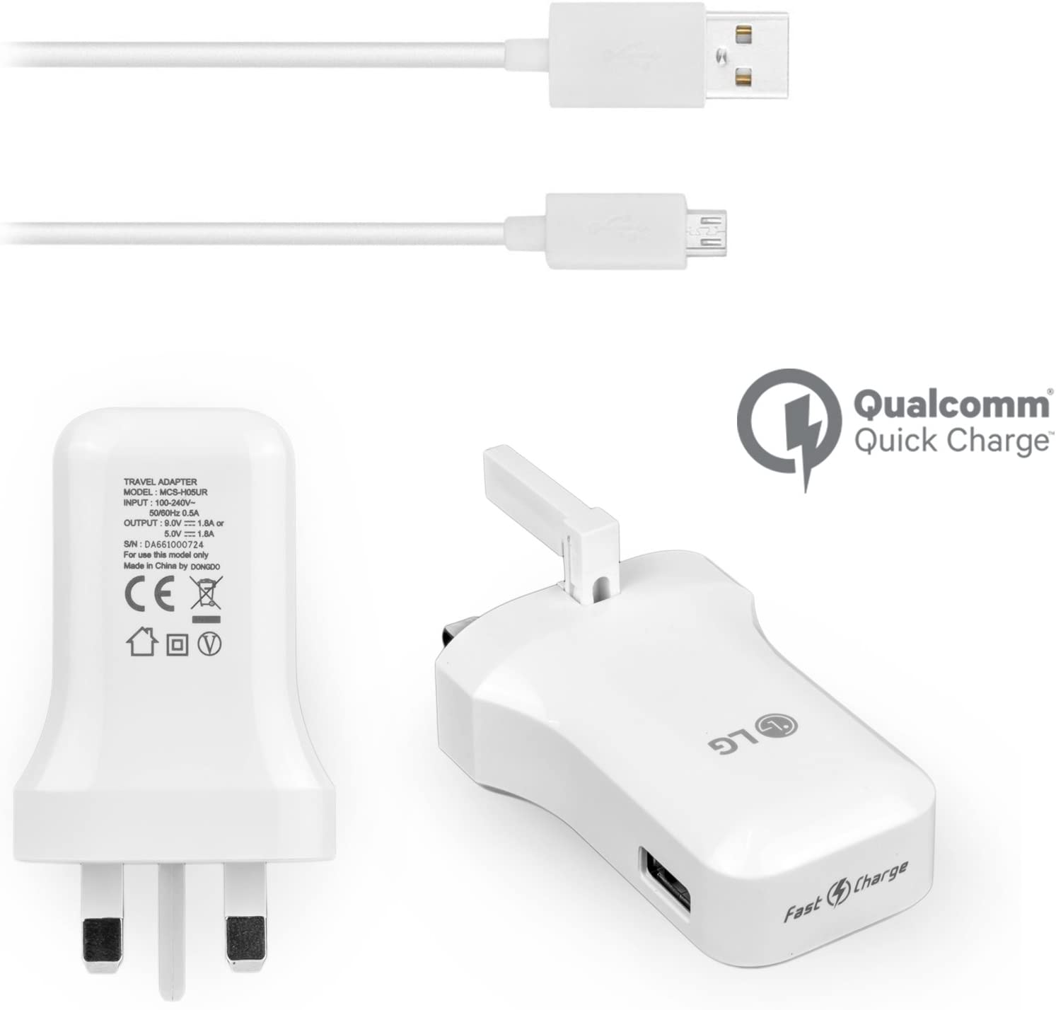 Genuine Lg Mains Wall Charger Qualcomm Fast Charge 9 0 5 0v High Power 1 8a For Lg V10 Lg G4 G3 G2 Lg Flex 2 Nexus 5 Leon 4g With Generic Usb Data Cable Sync Charge