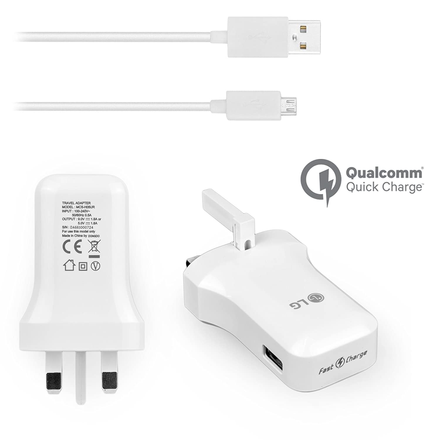 Genuine LG Mains Wall Charger Qualcomm Fast Charge 9 0/5 0V High Power 1 8A  for LG V10 LG G4 G3 G2 LG Flex 2 Nexus 5 Leon 4G with Generic USB Data