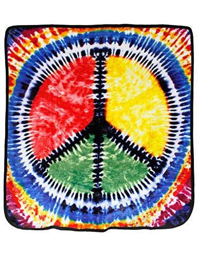 oral Fleece Hippie Throw Blanket (Peace Sign Fleece)