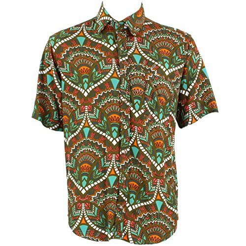 Loud Originals Regular Fit Hemd mit kurzen Ärmeln - grün, türkis & orange abstrakt