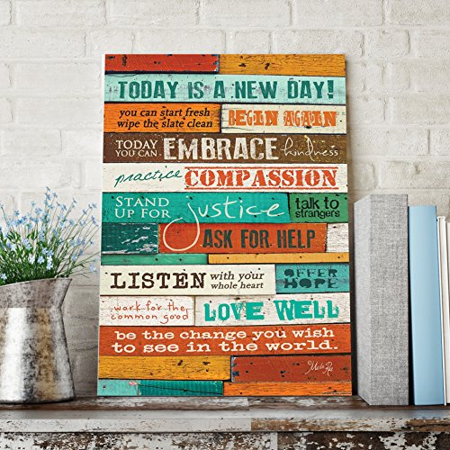Inspirational Quotes Wall Art – Today Is A New Day 12 x 16 Inch Wood Wall Art Panel by Marla Rae