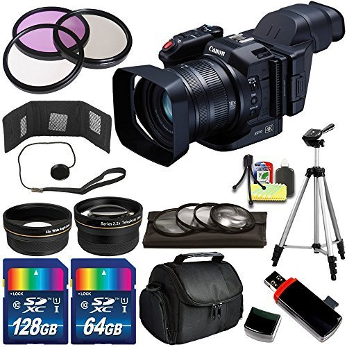 Canon XC10 4K Professional Camcorder - International Version (No Warranty) + 196GB Bundle + Deluxe Accessory Kit + Memory Card Wallet by eBasket