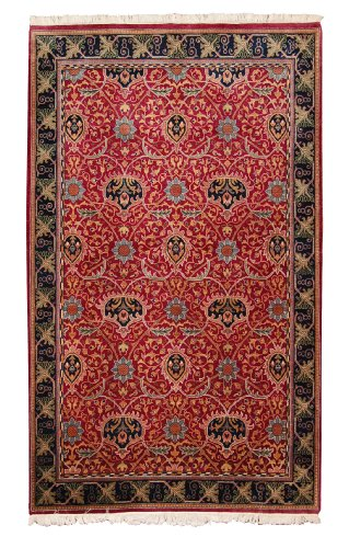 (New Hand Knotted Mori B Rug Woven with New Zealand Worsted Wool 6 X 9 Handmade Wool Area Rugs in Art Deco Floral Design Burgundy / Navy Color Will Match)