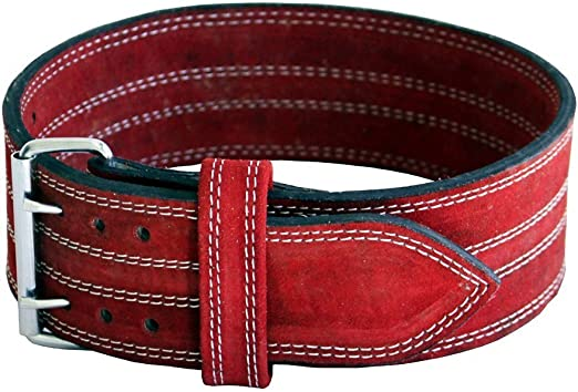 Power lifting Belt Suede Leather Double Prong Power Belt Bodybuilding belt 4 Inches Wide, 10 MM thick Weightlifting Belt Maximum Support &