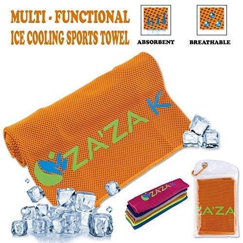 ZA'ZA K Cooling Microfiber Towel for Instant Cooling Relief, Cooling Towels for Neck, Sports Towel for Women, Men, Kids, Fitness Towels, Yoga, Workout, Gym, Pilates, Running, Travel, Camping, Golf
