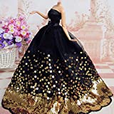 Unbranded Fashion Princess Party Black Sequin Dress Wedding Clothes/Gown For Barbie Doll