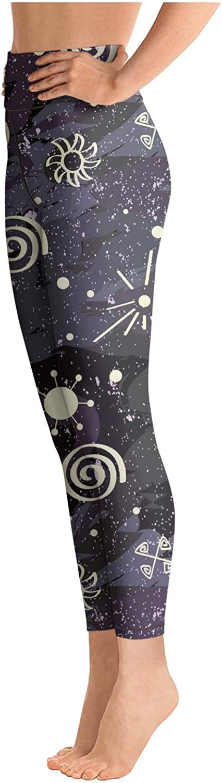 Eoyles gy Attractive Women High Waist Ultra Soft Vintage Moon Sky Symbol Workout Yoga Pant Leggings