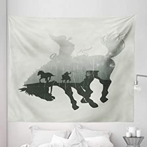 """Lunarable Western Tapestry King Size, Western Theme Cowboy Chasing Wild Horse in The Desert Rodeo Cowboy Theme, Wall Hanging Bedspread Bed Cover Wall Decor, 104"""" X 88"""", Green Grey"""