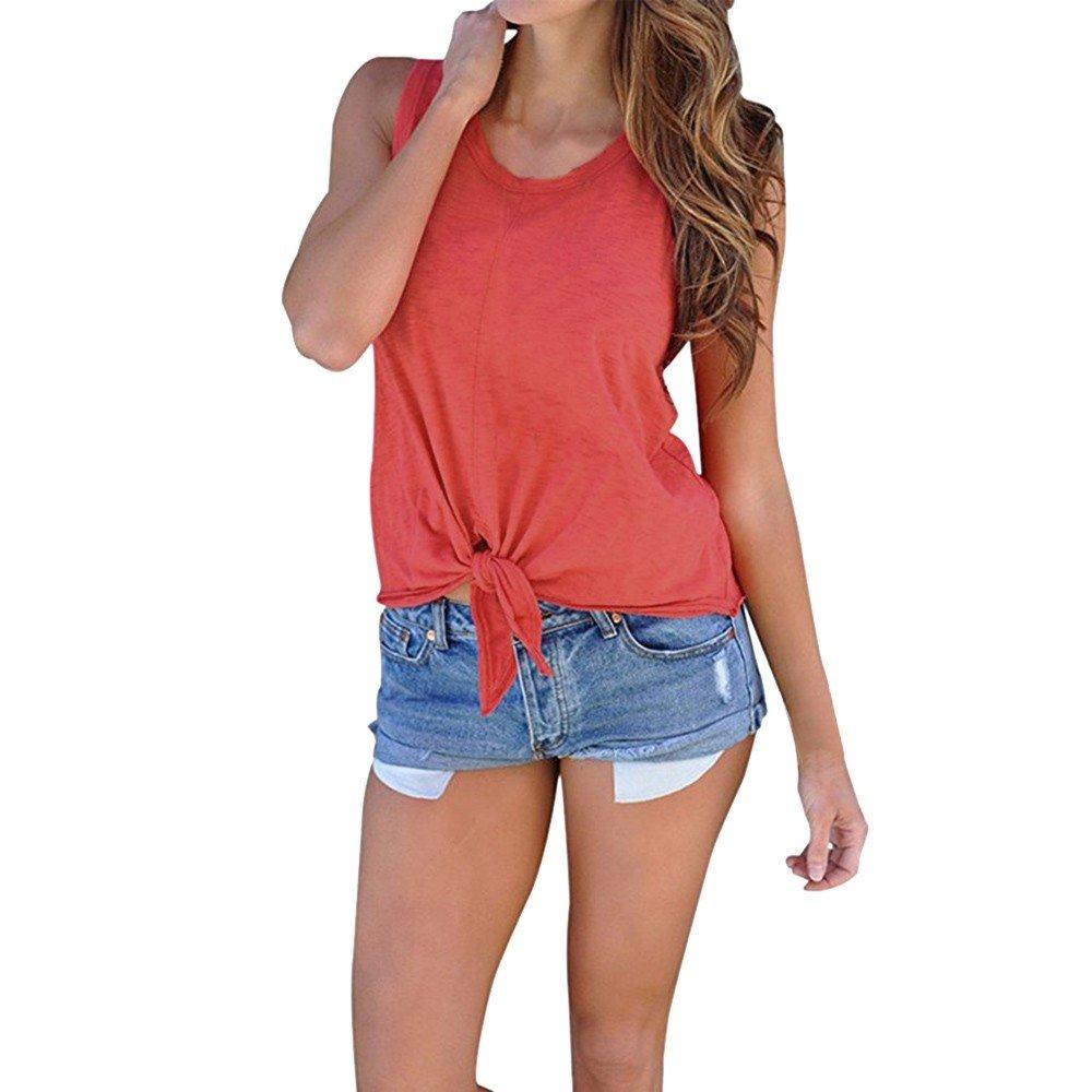 Hot Tank Tops,Women's Summer O Neck Sleeveless Shirt Blouse Front Tie Knot Cami T Shirt Tops Red