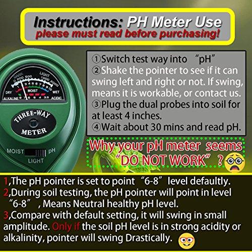 Soil Ph Meter Soil Tester Ph/Moisure/Light Meter Plant Sunlight Tester Kit For Garden Lawn Farm Indoor And Outdoor