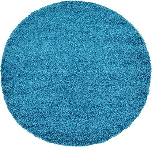 unique loom solid shag collection turquoise 6 ft round area rug 6u0027 x 6u0027
